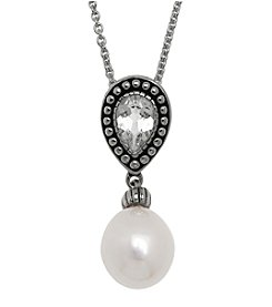 Honora Style® Oval Drop Pearl Necklace in Sterling Silver