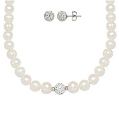 Honora Style® Pearl Earrings and Necklace Set