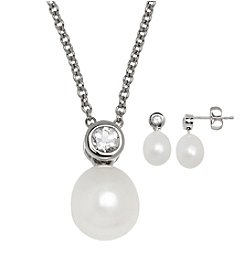 Honora Style® Oval Pearl Necklace and Earrings Set
