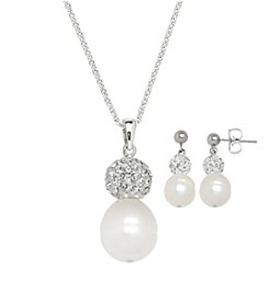 Honora Style® Pearl and Crystal Necklace and Earrings Set