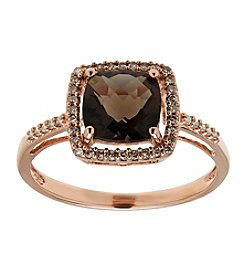 Smokey Quartz Ring in 10k Pink Gold