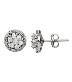 Diamond Stud Earrings in 10k White Gold