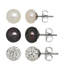Honora Style® Pearl and Crystal Earrings Set