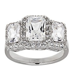 Fine Jewelry White Sapphire Ring in Sterling Silver