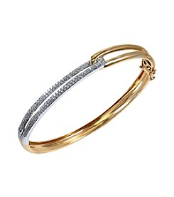 Effy® Duo Collection .60 ct. t.w. Diamond Bangle in 14k Yellow and White Gold