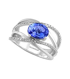 Effy® 0.31 ct. t.w. Diamond and Tanzanite Ring in 14k White Gold