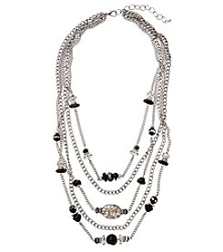 Laura Ashley® Five Row Silvertone Chain and Bead 22