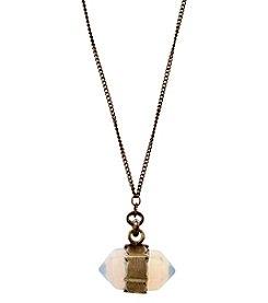 Ruff Hewn Burnished Brasstone Crystal Geometric Milky Quartz 17