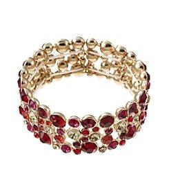 Relativity® Red and Goldtone Stretch Bracelet