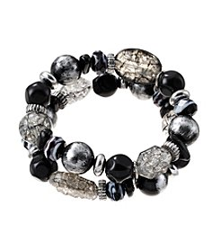 Laura Ashley® Two Row Beaded Silvertone Stretch Bracelet