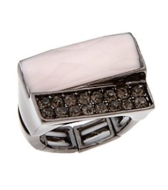 Erica Lyons® Hematite Tone Blush Hour Rectangles Fashion Stretch Ring