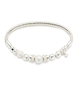 Nine West® Silvertone Beaded Strech Bracelet