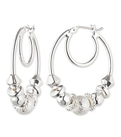 Nine West® Silvertone Beaded Click-it Hoop Earrings