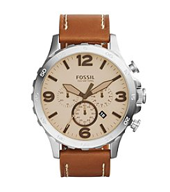 Fossil® Men's Silvertone Nate Watch with Light Brown Leather Strap