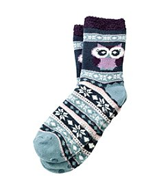 Legale® Duo Layer Critter Slipper Socks With Owl And Nordic Pattern