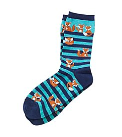 Legale® Striped Crew Socks With Lots Of Foxes