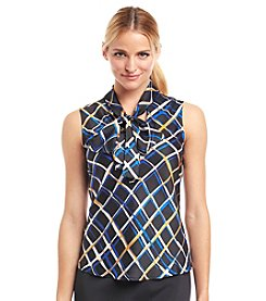 Nine West® Diamond Print Bow Blouse