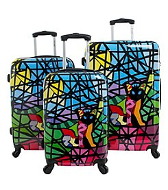 Chariot® 3-pc. Stained Glass Black Cat ABS Luggage Set