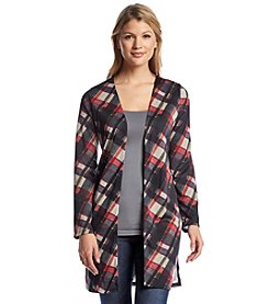 Notations® Plaid Long Knit Cardigan