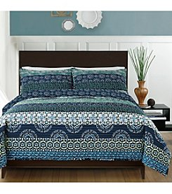 CHF Teal Block Quilt Set