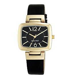 Nine West® Black Strap Watch with Goldtone Modern Shaped TV Case