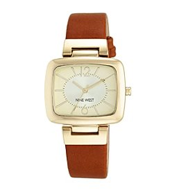 Nine West® Honey Strap Watch with Goldtone Modern Shaped TV Case