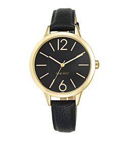 Nine West® Black Strap Watch with Goldtone Accents