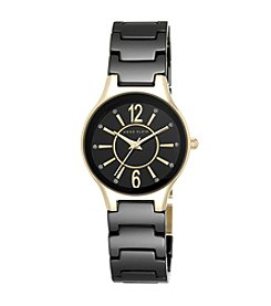 Anne Klein® Black Ceramic Trend Watch with Goldtone Accents