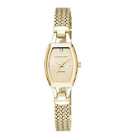 Anne Klein® Goldtone Slim Diamond Dial Watch