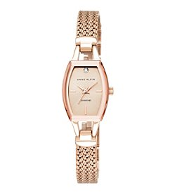Anne Klein® Rose Goldtone Slim Diamond Dial Watch