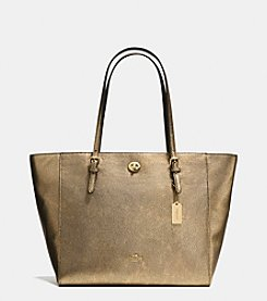 COACH TURNLOCK TOTE IN METALLIC PEBBLE LEATHER