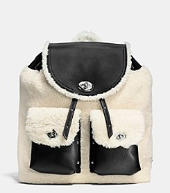 COACH TURNLOCK TIE RUCKSACK IN SHEARLING