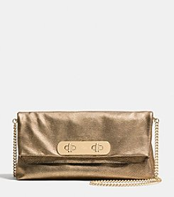 COACH SWAGGER CLUTCH IN METALLIC PEBBLE LEATHER