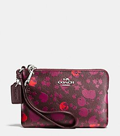 COACH CORNER ZIP WRISTLET IN FLORAL PRINT LEATHER