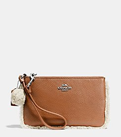 COACH SMALL WRISTLET WITH SHEARLING TRIM