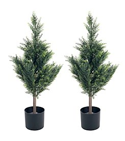 Pure Garden Set of 2 Artificial Cedar Tree