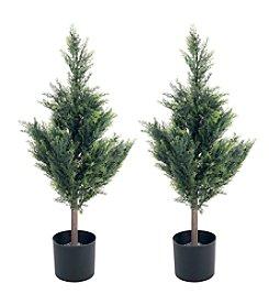 Pure Garden Set of 2 Artificial Cedar Tree