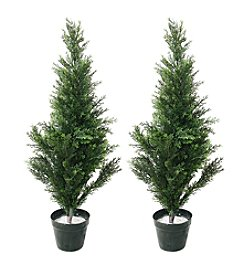 Pure Garden Set of 2 Artificial Topiary Cedar Tree
