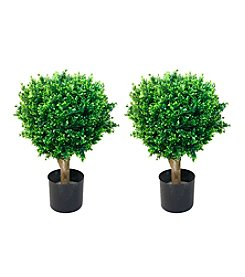 Pure Garden Set of 2 Artificial Topiary Hedyotis Tree