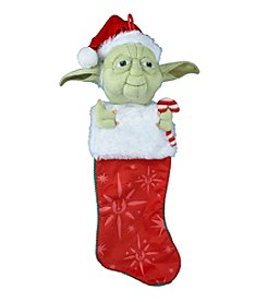 Kurt Adler Star Wars® Yoda with Candy Cane Plush Head Stocking