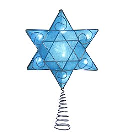 Kurt Adler Silver and Blue Hanukkah Star Shimmer Treetop
