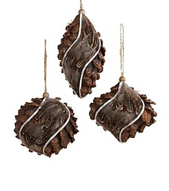 Kurt Adler 3-pc. Styrofoam Pinecone and Feather Ornament Set