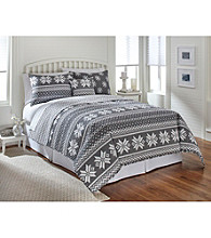 LivingQuarters New Haven Grey Snowflake Quilt Collection