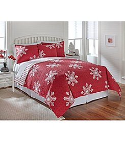 LivingQuarters New Haven Red Snowflake Quilt Collection