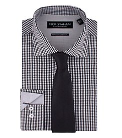Nick Graham® Men's Checkered Shirt Solid Tie Set