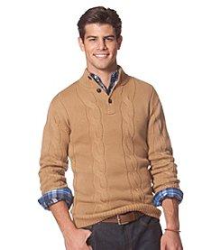 Chaps® Men's Cable Button Mock-Neck Sweater