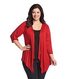 AGB® Plus Size Solid Cozy Knit Cardigan
