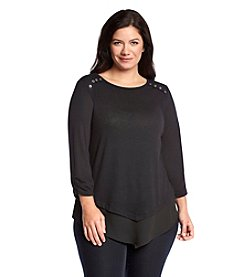 AGB® Plus Size Solid Chiffon Tunic