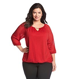 AGB® Plus Size Shadow Stripe Knit Top