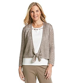 Alfred Dunner® Baton Rouge Tie Front Sequin Layered Look Sweater